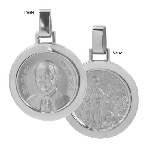Pingente Aço Papa Franc. e São Franc. de Assis Redondo 30mm