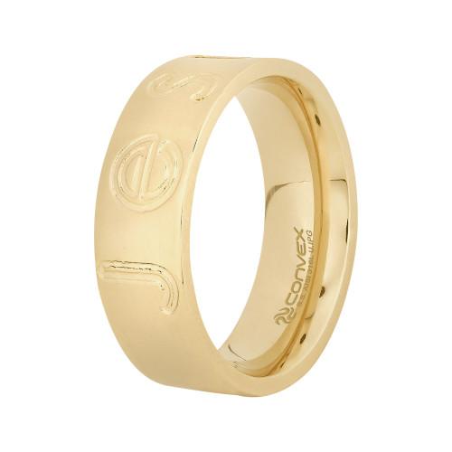 Aliança Aço Jesus 7mm Gold IPG