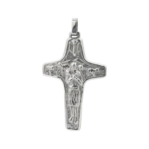 Pingente Aço Cruz do Papa 56x34mm