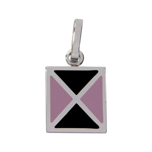 Pingente Aço Quadrado com Triangulo Lilás e Preto 15x15mm