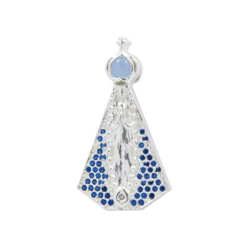Colar Prata Neo Crystal Nossa Sra. Aparecida com Safira e Lente Azul