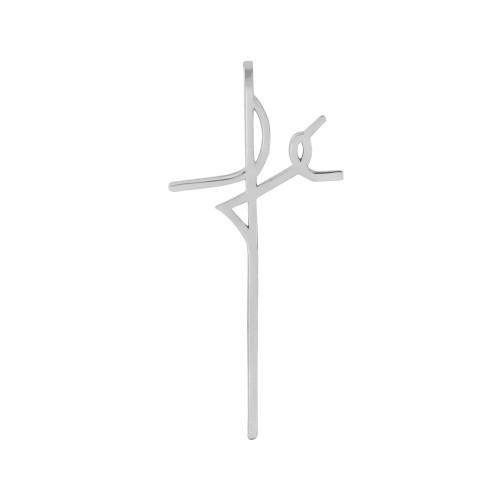 Pingente Aço Simbolo Fé 32x15mm
