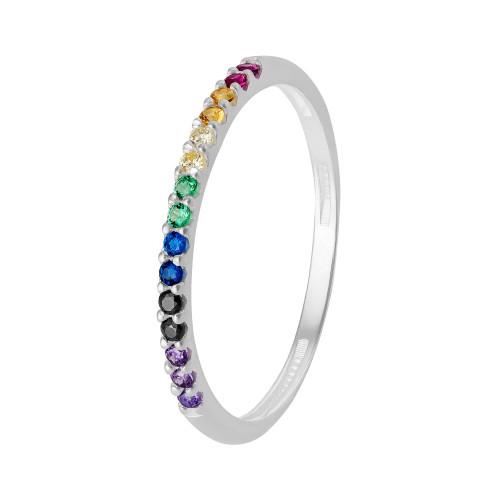 Anel Prata Aparador Link Rainbow com Zircônias Coloridas