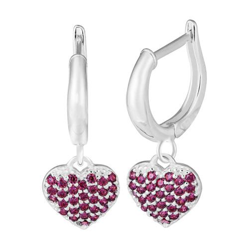 Brinco Prata Argola com Coração de Zircônias Pink