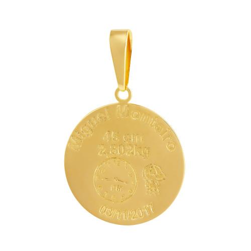 Pingente Aço Mandala Nascimento Menino 27mm Gold IPG