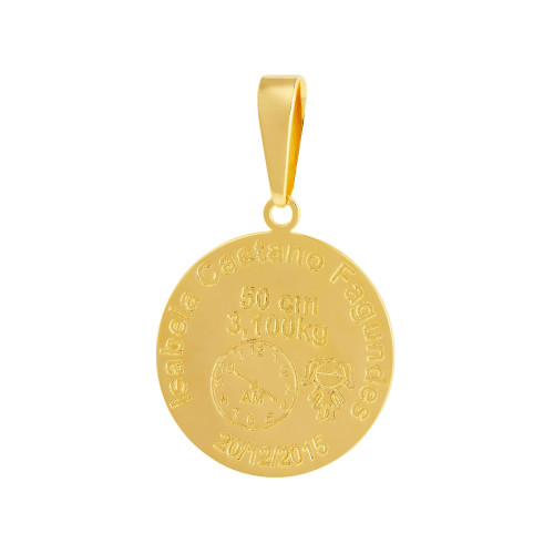 Pingente Aço Mandala Nascimento Menina 27mm Gold IPG