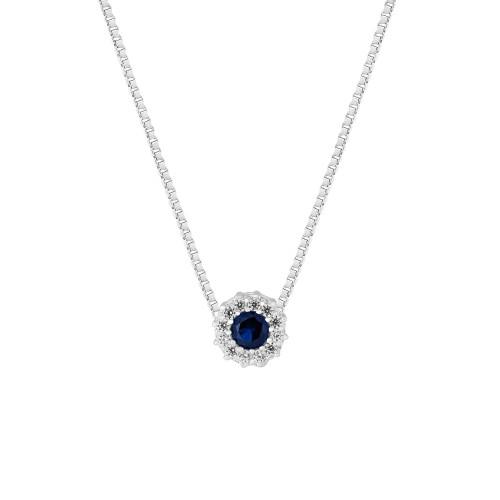 Colar Prata Veneziana Ponto de Luz com Zircônia Azul e Branca