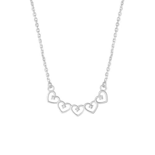 Colar Prata Cadeado Corações com Zircônias Brancas