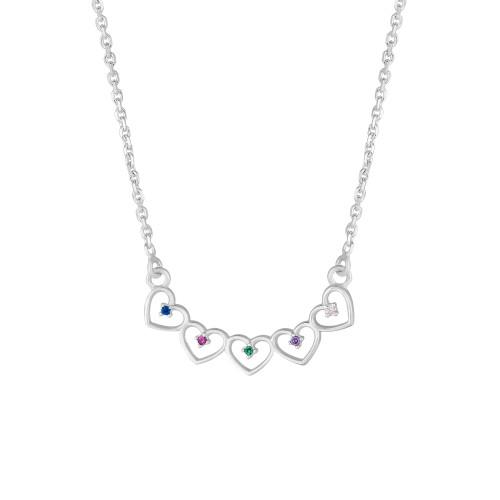 Colar Prata Cadeado Corações com Zircônias Colors