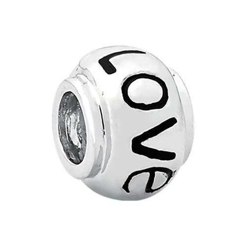 Pingente Prata LINK Separador Love com Resina Preta 10x7.5mm