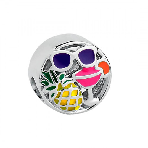 Pingente Prata Link Emoji Férias Color 11mm