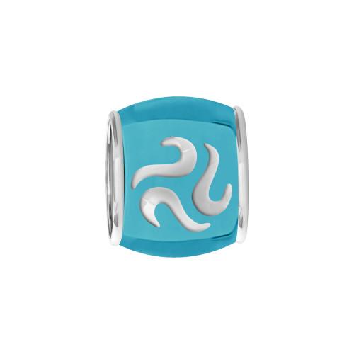 Pingente Prata Link Tubo Separador Convex Colors  com Resina Azul