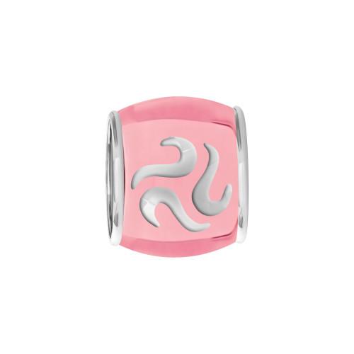 Pingente Prata Link Tubo Separador Convex Colors Rosa