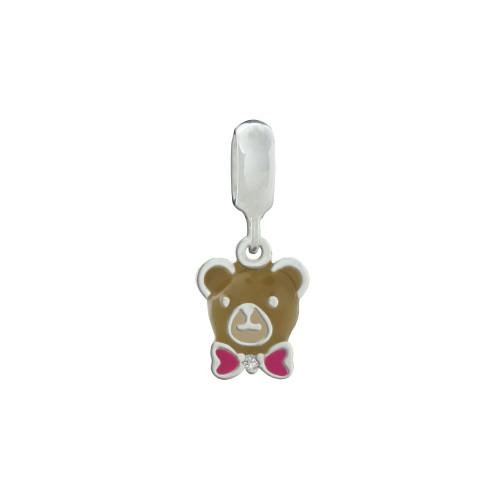 Pingente Prata Link Urso Caramelo com Gravata Rosa e Zircônia