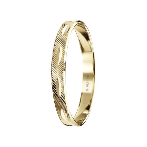 Aliança Ouro 10Kt Reta Trabalhada, Ricos Horizontais e Diamantada Vertical L2.6mm E0.5mm