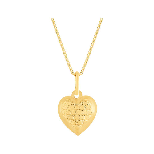 Colar Prata RVT Ouro 18K Veneziana com Coração Diamantado 11x10mm 45cm