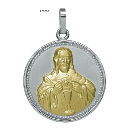 Pingente Aço Sagrado Coração de Jesus Redondo 50mm com Ouro
