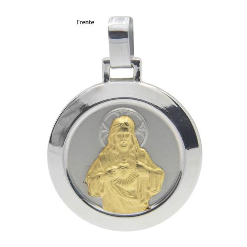 Pingente Aço Sagrado Coração de Jesus Redondo 30mm com Ouro