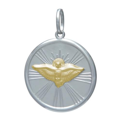 Pingente de aço redondo com Espírito Santo com Ouro 23mm