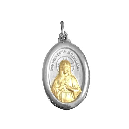 Pingente Aço Sagrado Coração de Maria com Ouro 23x16mm
