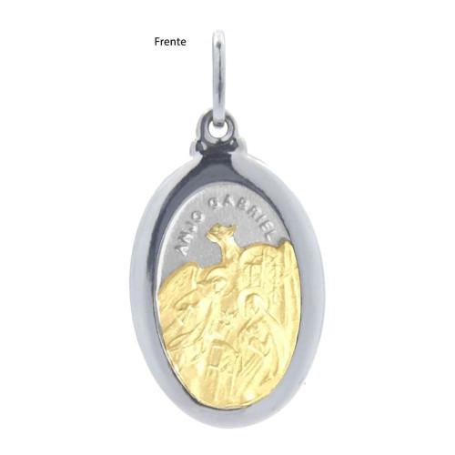 Pingente Aço Anjo Gabriel Oval 23x16mm com Ouro