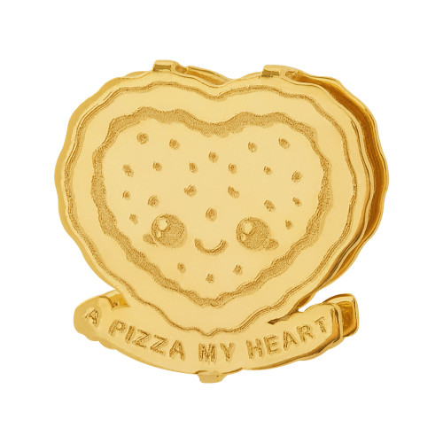 Pingente Aço Hit A Pizza My Heart 16.5mm Gold IPG