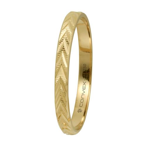 Aliança Ouro 18K Reta Giratória, Risco Horizontal, Diamantado Viagonal em V L2.1mm E0.5mm