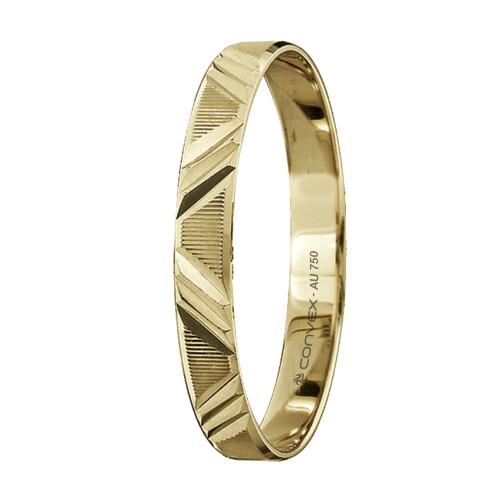 Aliança Ouro 18K Reta com Riscos Horizontais e Diamantada Diagonal L3mm E0.5mm