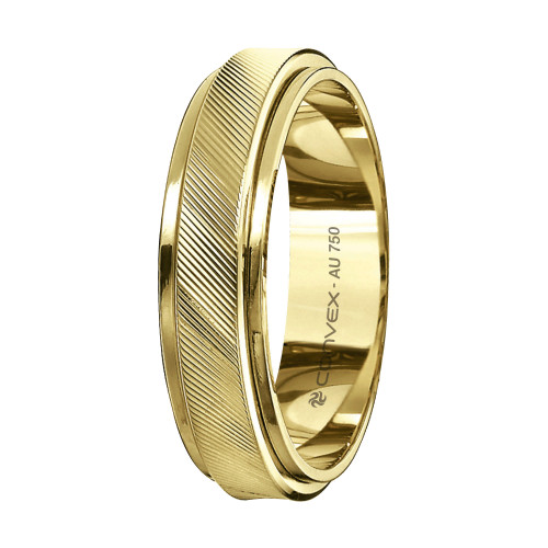 Aliança Ouro 18K Reta com Riscado Diagonal L5mm E1.1mm