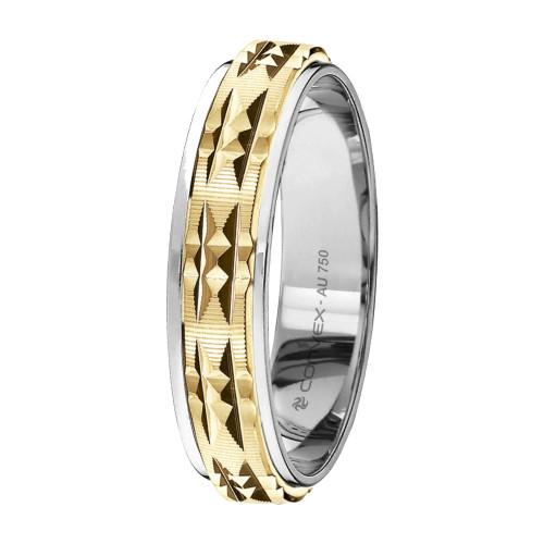 Aliança Ouro 18K Bicolor Giratória com Diamantado Vertical Paralelo L5.6mm E1.2mm