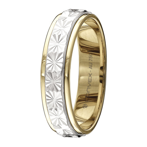 Aliança Ouro 18K Reta Bicolor Giratória com Estrela Diamantada L4.9mm E0.9mm
