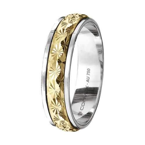 Aliança Ouro 18K Reta Bicolor Giratória com Diamantado Estrela L4.8mm E1.2mm