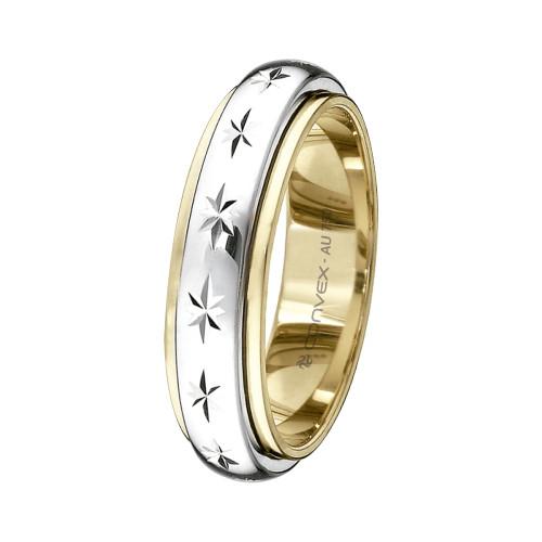 Aliança Ouro 18K Abaulada Bicolor Giratória com Diamantado Estrela L5mm E1.2mm