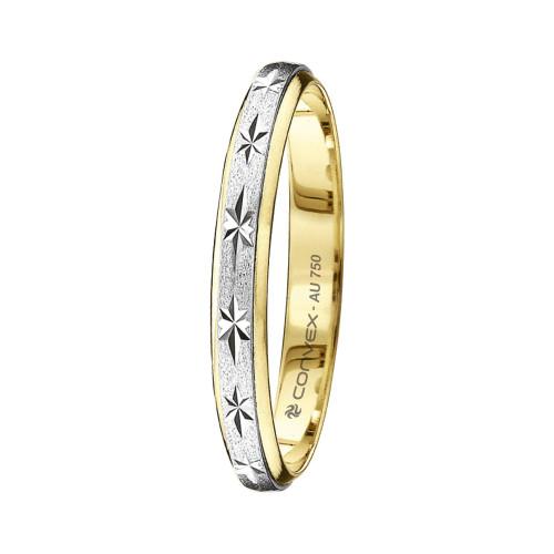 Aliança Ouro 18K Bicolor Giratória, Jateada com Diamantado Estrela L2.7mm E1mm