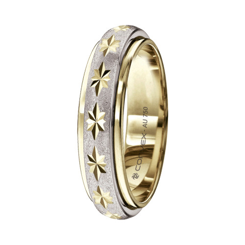 Aliança Ouro 18K Bicolor Giratória, Jateada com Diamantado Estrela L5mm E1.2mm