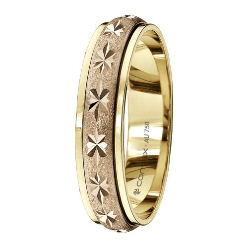 Aliança Ouro 18K Abaulada Bicolor Giratória, Fosca com Diamantado Estrela L5mm E1.2mm