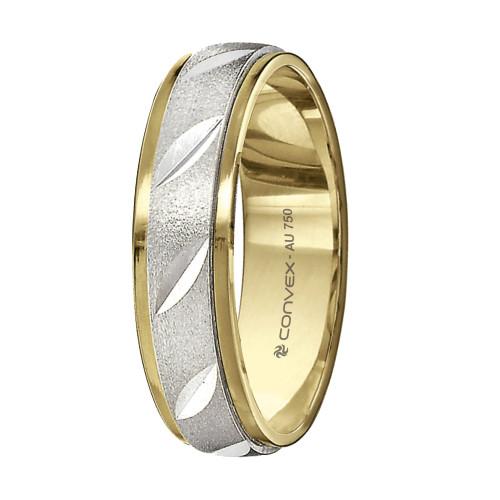Aliança Ouro 18K Bicolor Giratória, Jateada com Diamantados Diagonais L5mm E1mm