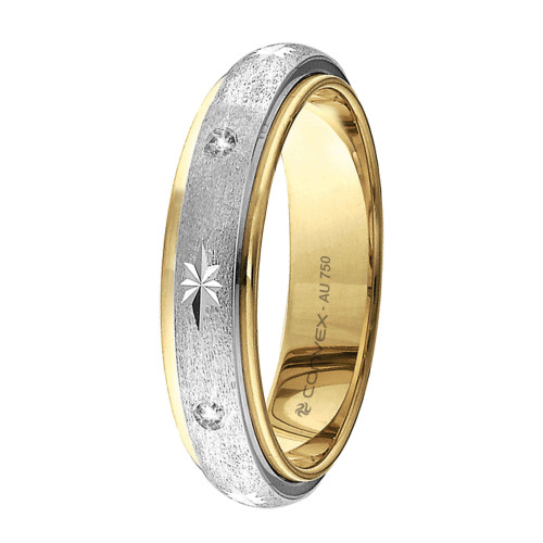 Aliança Ouro 18K Abaulada, Fosca, Giratória com Estrela Diamantada e 5 Brilhantes L5mm E1.5mm