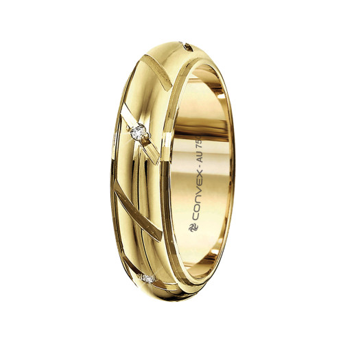 Aliança Ouro 18K Abaulada com Diamantado Diagonal e Diamantes L5.5mm E2mm