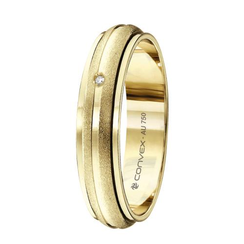 Aliança Ouro 18K Abaulada, Giratória com Jateados Laterais e Diamante L5mm E1.1mm