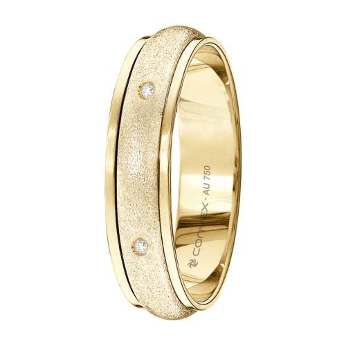 Aliança Ouro Abaulada Fosca com Diamante L5mm A15mm