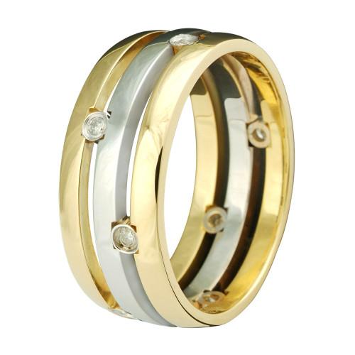 Aliança Ouro 18k Abaulada com Diamante L84mm A15mm