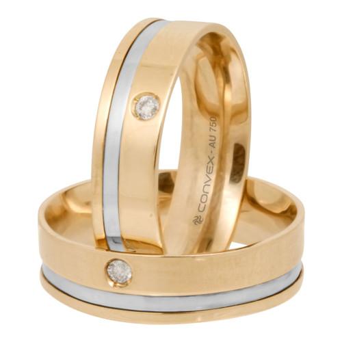 Aliança Ouro 18K Lisa com Filete Lateral em Ouro Branco e Diamante L6mm E1.4mm