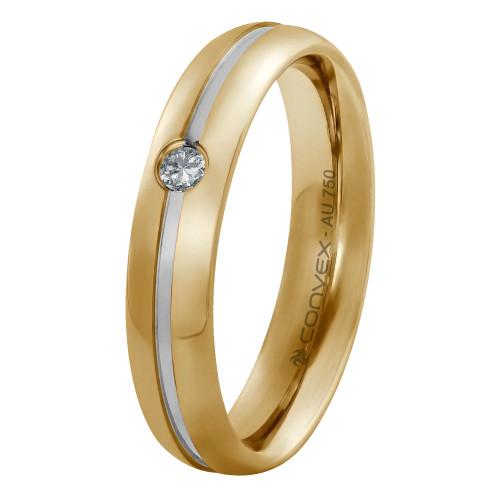 Aliança Ouro 18K Abaulada com Filete em Ouro Branco e Diamante L4.85mm E1.45mm