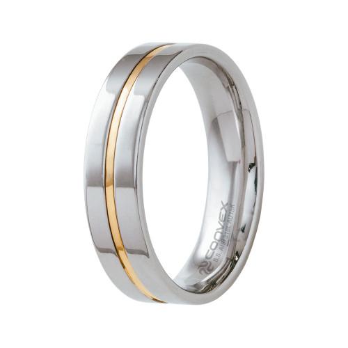 Aliança Aço Plus 6mm com Filete Central em Ouro
