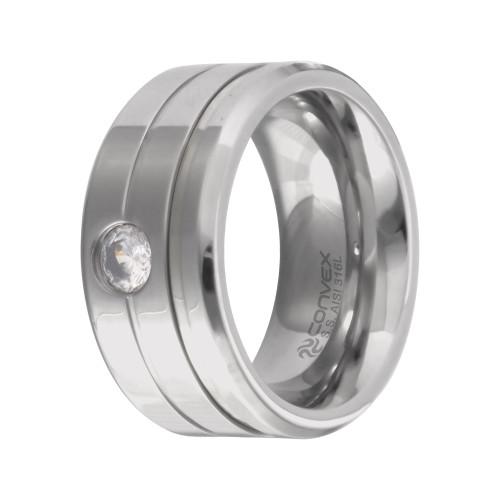 Aliança Aço Chrome Double Thin 10mm com Zircônia