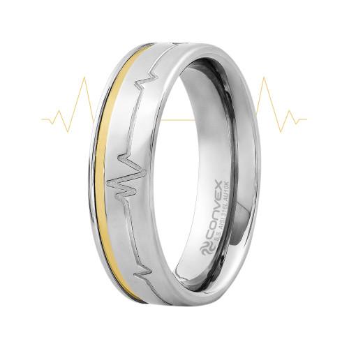 Aliança Aço Heart Beat 6mm com Filete em Ouro 10k