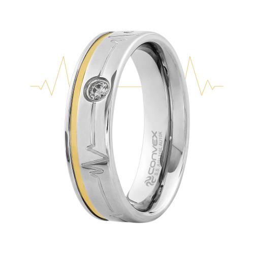 Aliança Aço Heart Beat Shine 6mm com Filete em Ouro 10K e Zircônia