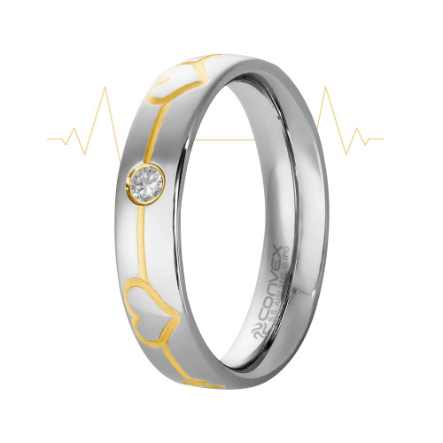 Aliança Aço Love Beat Shine 5mm com Zircônia 2.5mm e Filete Gold IPG