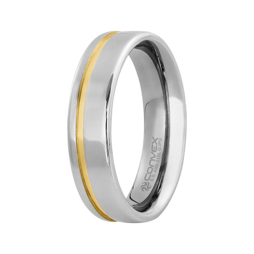 Aliança Aço Londres 6mm com Filete Lateral Gold IPG